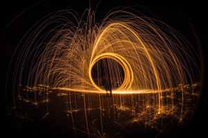 light painting at night